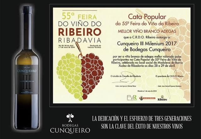 Cunqueiro III Milenium 2017 o mellor viño mellor valorado polos participantes na cata polupar